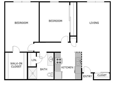 2 bed, 1 bath floor plan